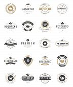 Vintage Crowns Logos Set. Vector design elements, Premium Quality Labels poster