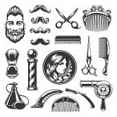 Barber Shop Vector Silhouettes and Icons Set. For Logos, Labels, Badges and Advertising. Beauty Salo poster
