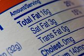 stock photo of food label  - a macro close up of a nutrition label - JPG