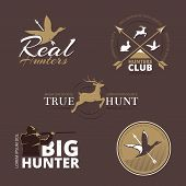 Постер, плакат: Vector labels with duck deer hare gun and hunter