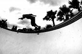 Skateboarding Bw