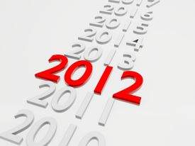 stock photo of happy new year 2013  - New Year 2012 in followed by the years 2013 up to 2019 - JPG