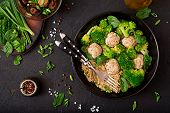 Baked Meatballs Of Chicken Fillet With Garnish With Quinoa And Boiled Broccoli. Proper Nutrition. Sp poster