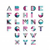 Vector Multicolor Geometric Alphabet. Latin Decorative Font Symbols And Elements For Logo Design. poster