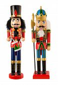 stock photo of nutcrackers  - Two Nutcrackers isolated on a white background - JPG
