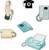 Selection of telephones, old and new