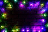 Wreath And Garlands Of Colored Light Bulbs.christmas Background With Lights And Free Text Space. Chr poster