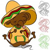An image of a sleeping mouse wearing sombrero and poncho.