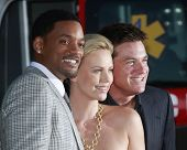 LOS ANGELES - JUN 30: Will Smith, Charlize Theron and Jason Bateman at the premiere of 'Hancock' in