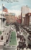 NEW YORK CITY â?? CIRCA 1908: Vintage postcard depicting the elite shopping district of Fifth Avenue