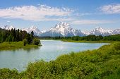 Mt. Moran op Oxbow Bend in de Grand Teton National Park, Wyoming.