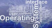 Word cloud concept illustration of operating system international