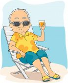 Illustration of a Retiree Enjoying His Vacation