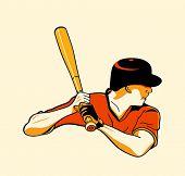 Baseball batter in retro three color print halftone pattern