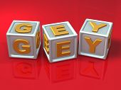 stock photo of gey  - block letters  - JPG