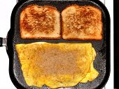 Omelet And Toast On Griddle