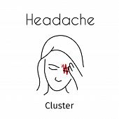 Headache Linear Icon. Vector Abstract Minimal Illustration Of Girl With Red Zigzag On The Head Suffe poster