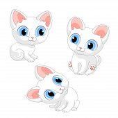 Kittens Kitten White Cat Cats Pets Cartoon Illustration Vector poster