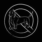 Dog. Stop Dog. Dachshund. White Outline. Realistically Hand-drawn Dachshund. Transparent Black Backg poster