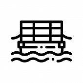 Public Transport Cable Ferry Vector Thin Line Icon. Sea River Ship Cable Ferry, Urban Passenger Tran poster