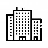 Tenement House Skyscraper Vector Thin Line Icon. Skyscraper Building Collective Housing Linear Picto poster