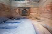 Interior Of Ancient Tomb Or Dwelling In Sandstone Cave In Petra