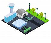 Small Airport Concept Banner. Isometric Banner Of Small Airport Vector Concept For Web, Giftcard And poster