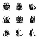 Adventure Backpack Icon Set. Simple Set Of 9 Adventure Backpack Vector Icons For Web Design Isolated poster
