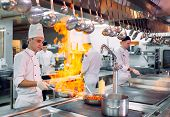 Modern Kitchen. Cooks Prepare Meals On The Stove In The Kitchen Of The Restaurant Or Hotel. The Fire poster
