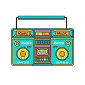 Old Multi-colored Tape Recorder . Vector Drawing Concept  Illustration . poster