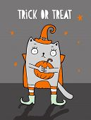 Trick Or Treat. Funny Halloween Vector Illustration With Witch Cat. Cute Gray Cat In The Hat Holding poster