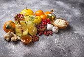 Healthy Products For Immunity Boosting And Cold Remedies. Winter Vitamins Food poster