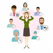 Medicne Doctors Proffesionals For Womans Deseases Vector Illustration. Medic Staff Set With Medical  poster