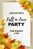 Autumn Background With Falling Leaves On Wood Background. Place For Text. Great For Bridal Shower, P poster