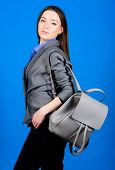 Backpack Fashion Trend. Woman With Leather Knapsack. Stylish Woman In Jacket With Leather Backpack.  poster