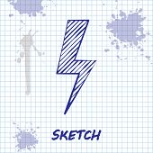 Sketch Line Lightning Bolt Icon Isolated On White Background. Flash Icon. Charge Flash Icon. Thunder poster