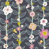 Seamless Vector Kids Pattern Fairy And Flowers. Children Background For Girls On Dark Background. Fl poster