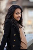 stock photo of mixed race  - Outdoor of a  portrait happy young african american teenage girl - JPG