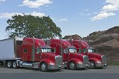 image of 18 wheeler  - The beautiful Three 18 Wheeler Red Semi - JPG