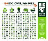 Big Vector Set Of Eco Icons, Huge Pack Of Ecology & Environment Themes: Alternative Renewable Energy poster