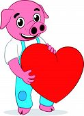 Happy cute pig with heart