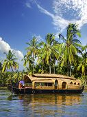 picture of houseboats  - Houseboat  in backwaters on a background of the blue sky - JPG