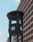 Replica Of The Oldest Traffic Light In The World In Potsdamer Platz, Berlin, Germany poster