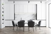 White And Marble Kitchen Interior With Table poster