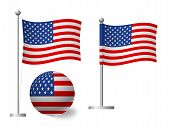 United States Of America Flag On Pole And Ball. Metal Flagpole. National Flag Of United States Of Am poster