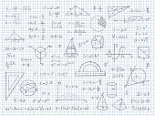 Doodle Math. Physics And Geometry Formulas End Equations, School Science Graphs And Trigonometry. Ve poster