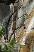Canyoning in Purcaraccia canyon, Corsica, France