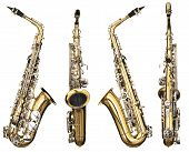 stock photo of saxophones  - Four angles of a classical alto saxophone woodwind instrument - JPG
