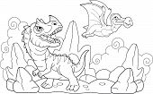 Cartoon Funny Prehistoric Dinosaurs, Coloring Book, Funny Illustration poster