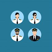 Pilot Icons Vector Isolated On Blue Background For Your Web And Mobile App Design. Male And Female P poster